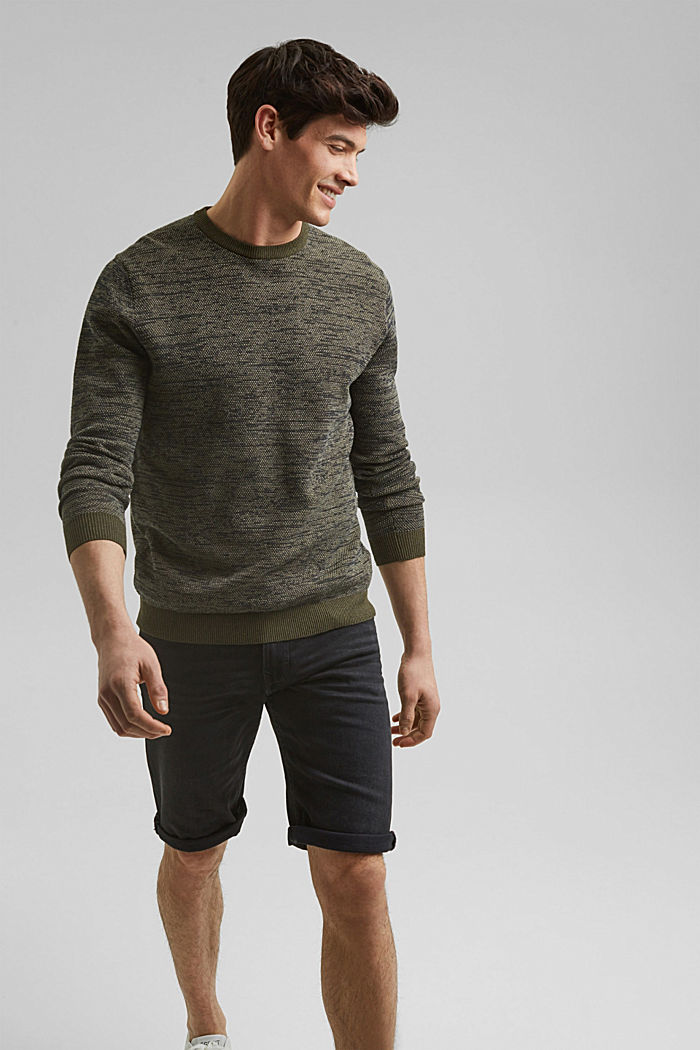 Jumper with texture, 100% organic cotton, DARK KHAKI, detail image number 0