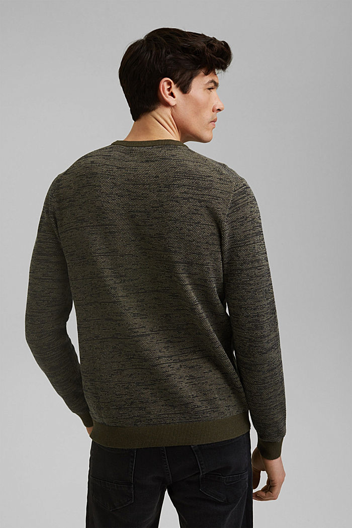 Jumper with texture, 100% organic cotton, DARK KHAKI, detail image number 3
