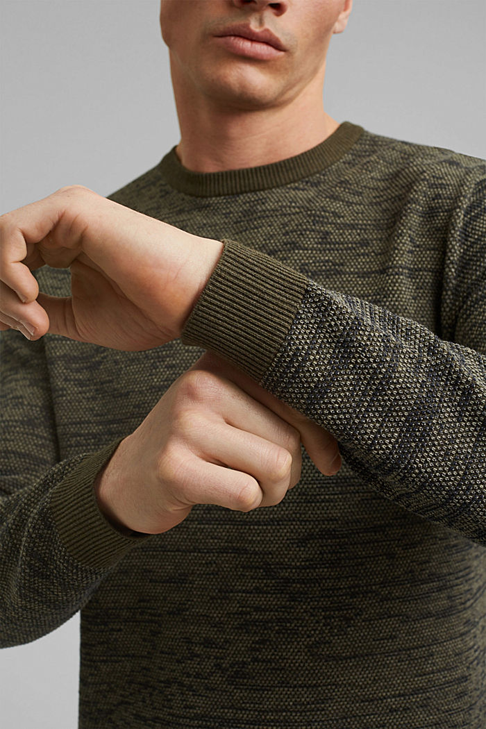 Jumper with texture, 100% organic cotton, DARK KHAKI, detail image number 2