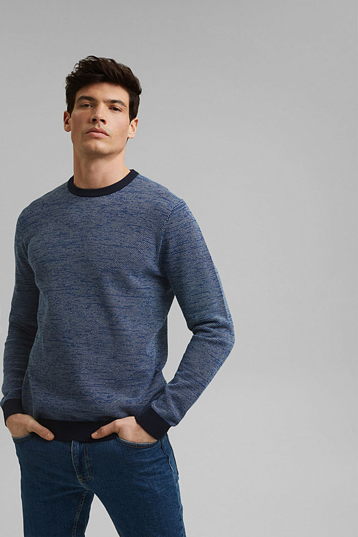 Jumper with texture, 100% organic cotton, NAVY, detail image number 0