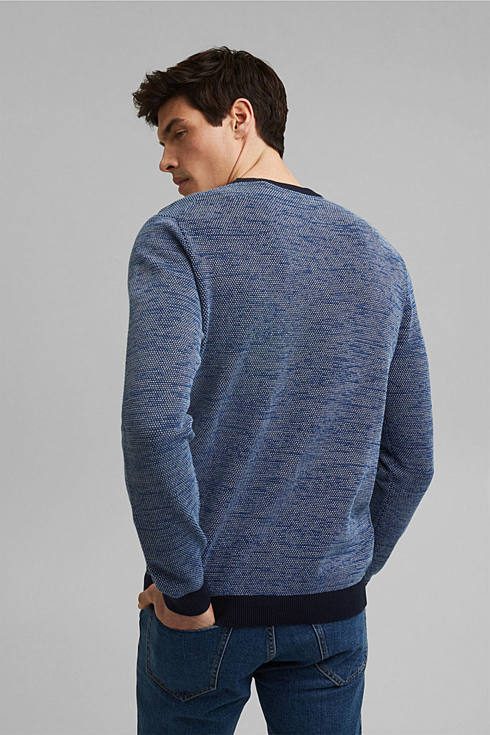Jumper with texture, 100% organic cotton, NAVY, detail image number 3