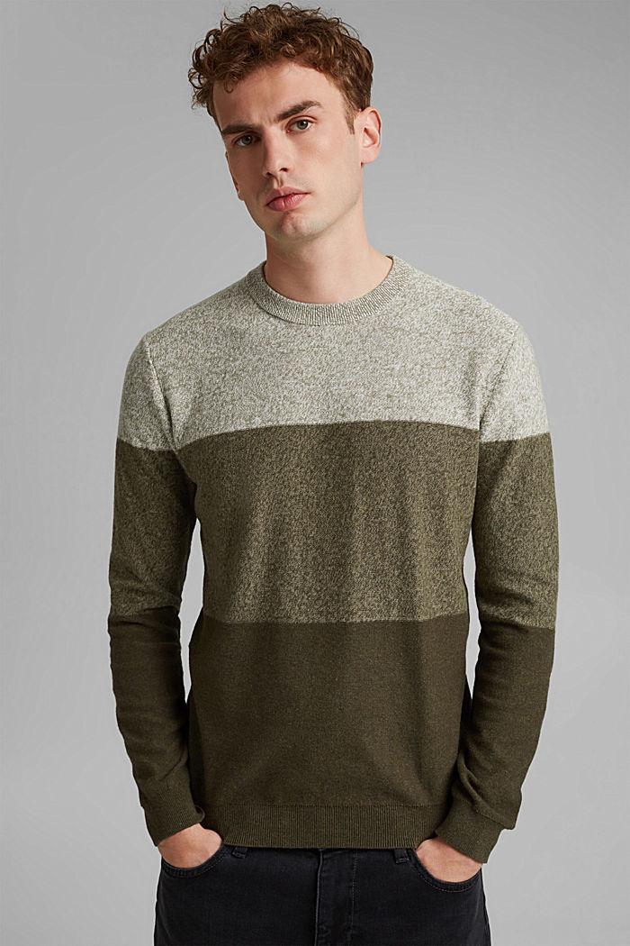 Pullover mit Blockstreifen, 100% Bio-Baumwolle, DARK KHAKI, detail image number 0