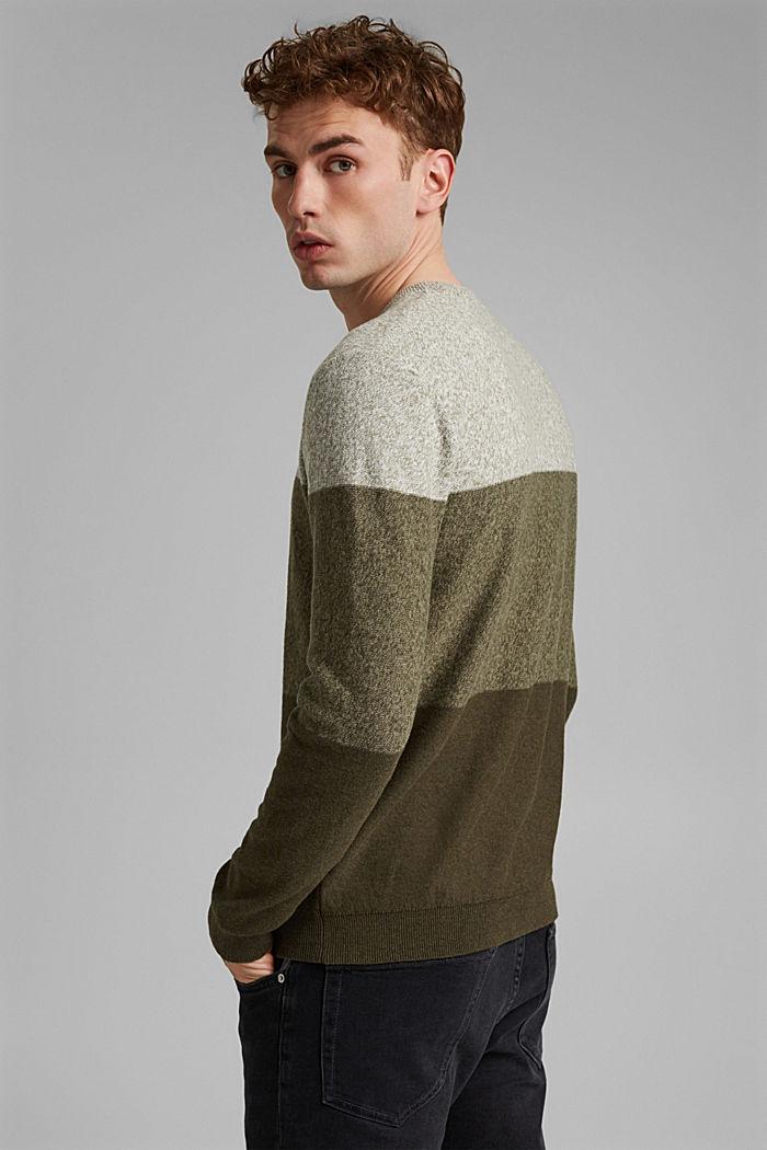 Pullover mit Blockstreifen, 100% Bio-Baumwolle, DARK KHAKI, detail image number 3