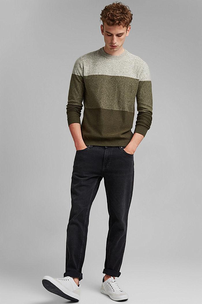 Pullover mit Blockstreifen, 100% Bio-Baumwolle, DARK KHAKI, detail image number 1