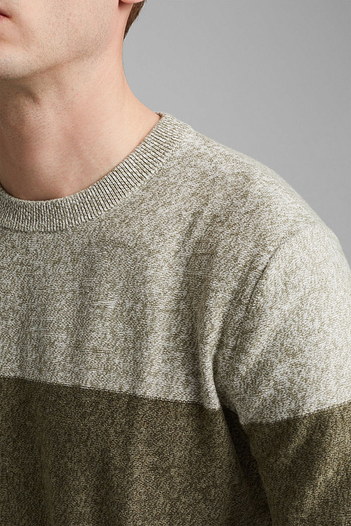 Pullover mit Blockstreifen, 100% Bio-Baumwolle, DARK KHAKI, detail image number 2