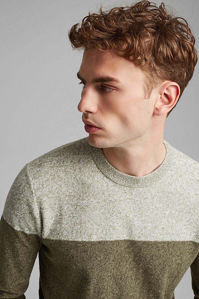 Pullover mit Blockstreifen, 100% Bio-Baumwolle, DARK KHAKI, detail image number 5