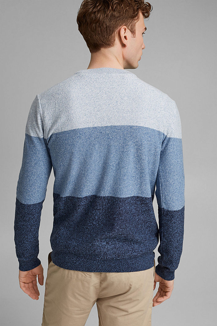 Jumper with block stripes, 100% organic cotton, NAVY, detail image number 3