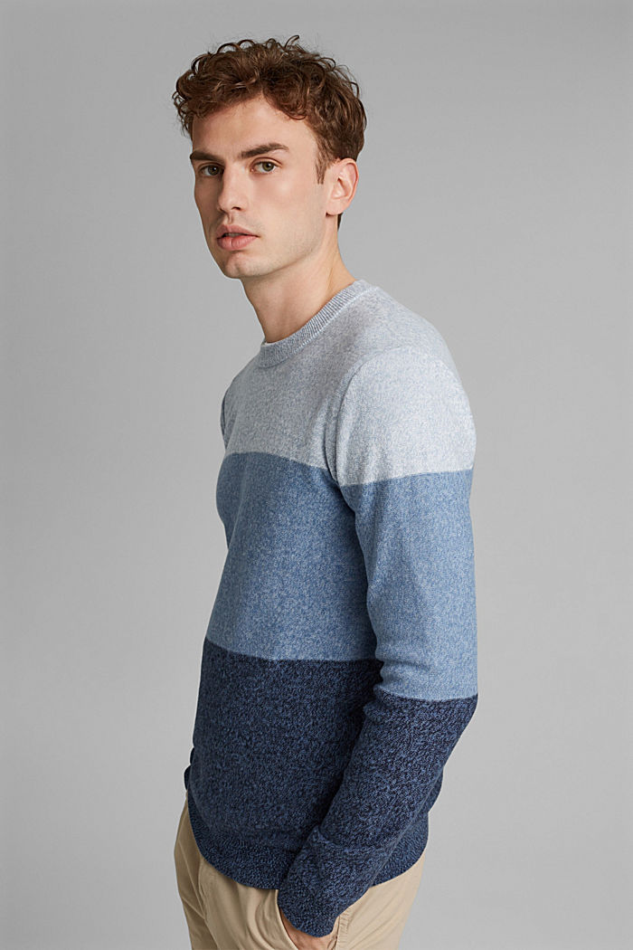 Jumper with block stripes, 100% organic cotton, NAVY, detail image number 5