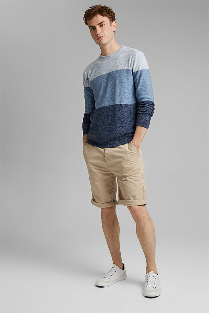 Jumper with block stripes, 100% organic cotton, NAVY, detail image number 1