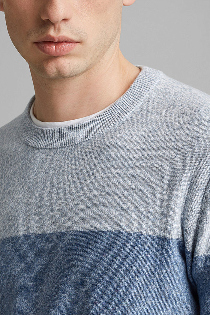Jumper with block stripes, 100% organic cotton, NAVY, detail image number 2