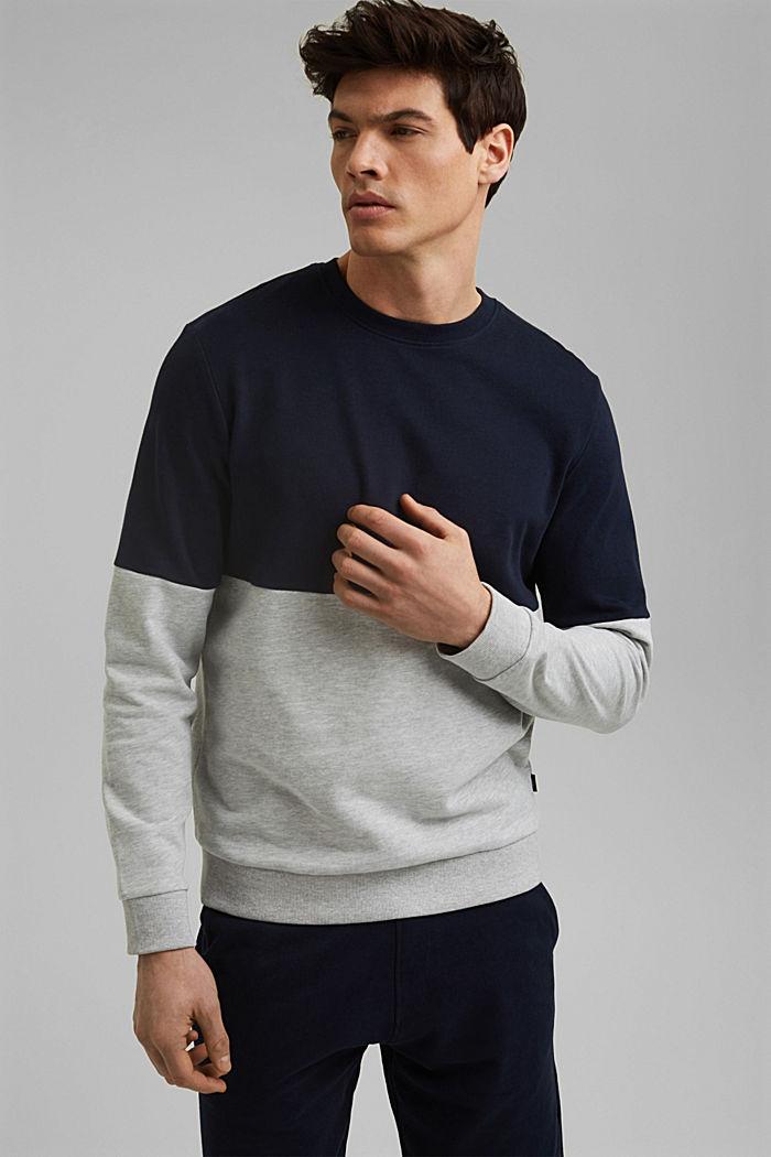 Colour block sweatshirt, organic cotton, NAVY, detail image number 0