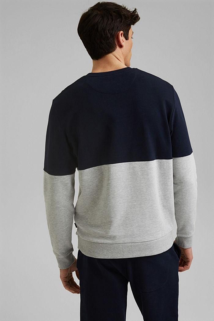 Colour block sweatshirt, organic cotton, NAVY, detail image number 3