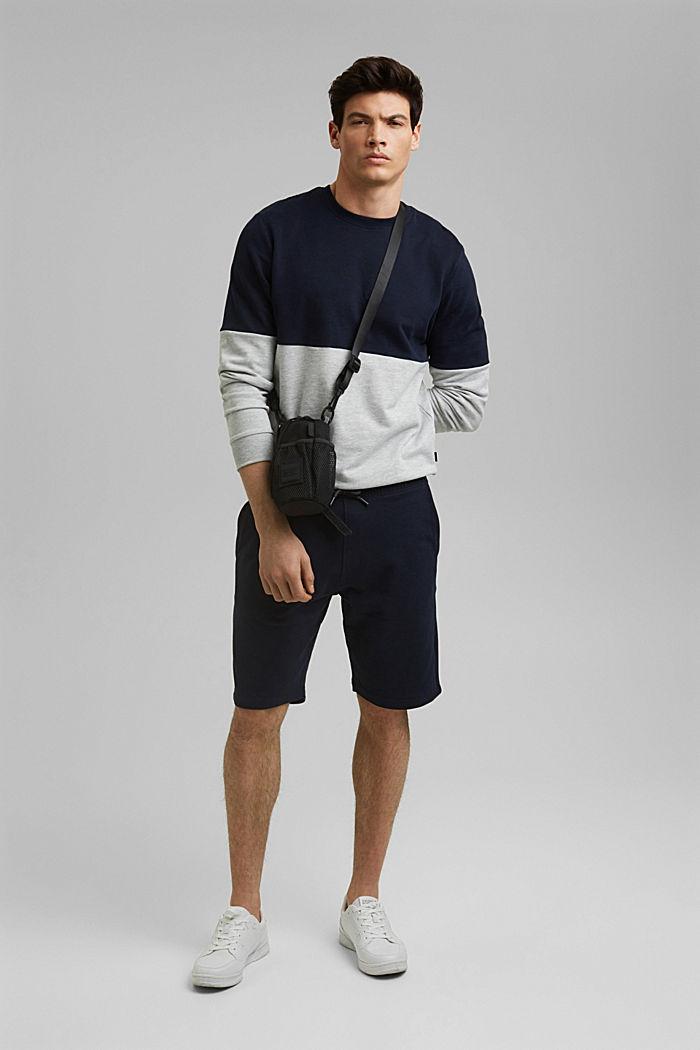 Colour block sweatshirt, organic cotton, NAVY, detail image number 1