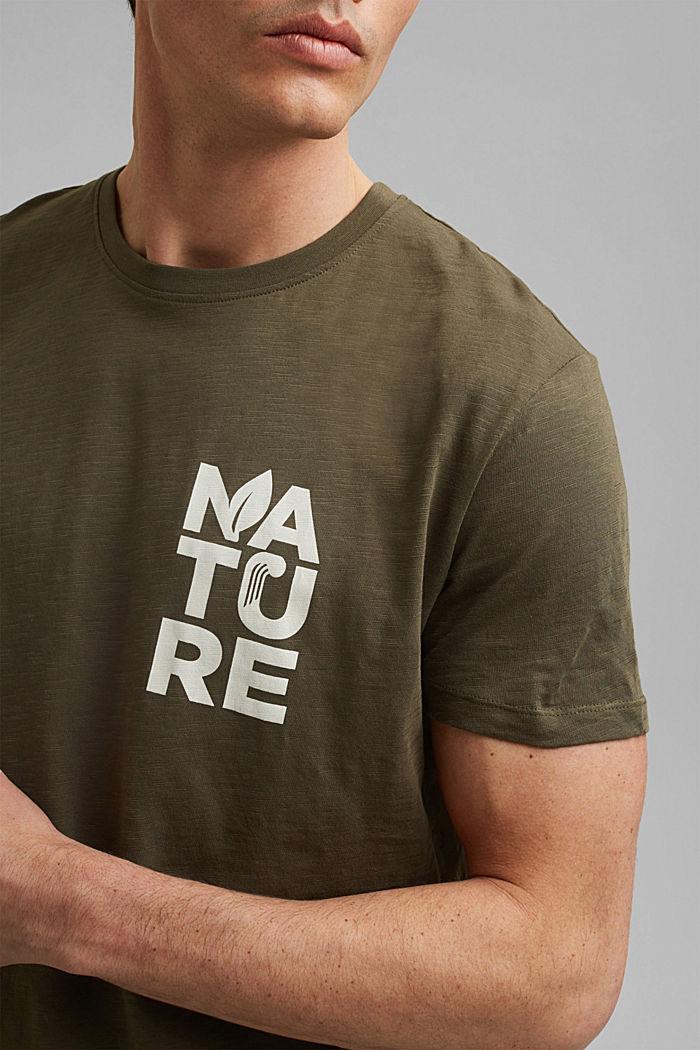 T-Shirt mit Print, Organic Cotton, DARK KHAKI, detail image number 1