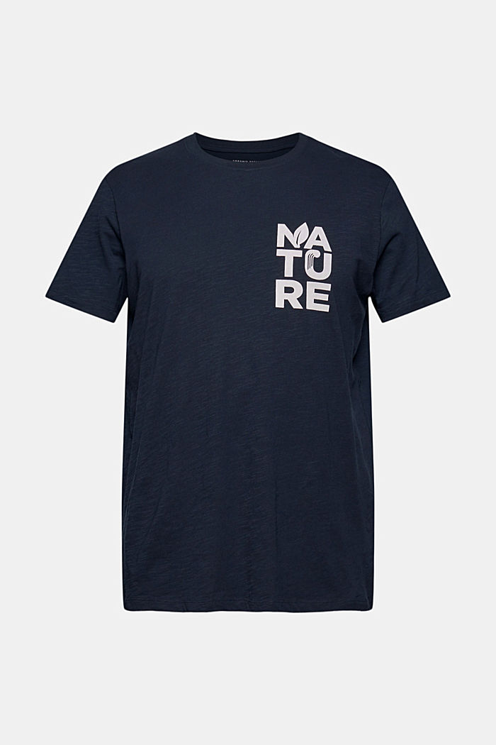 T-shirt with print, organic cotton, NAVY, overview