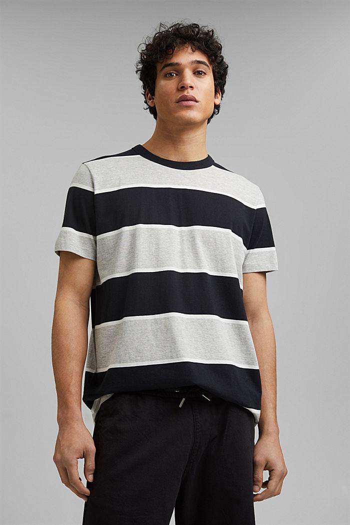 T-shirt rayé, coton biologique, ANTHRACITE, detail image number 0