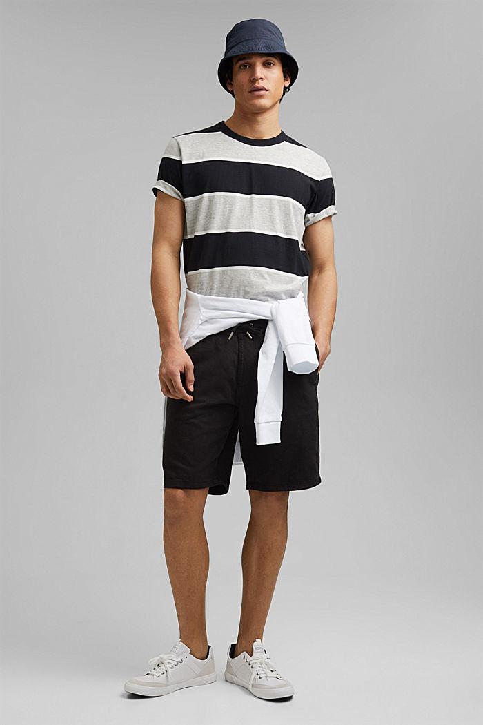 T-shirt rayé, coton biologique, ANTHRACITE, detail image number 2