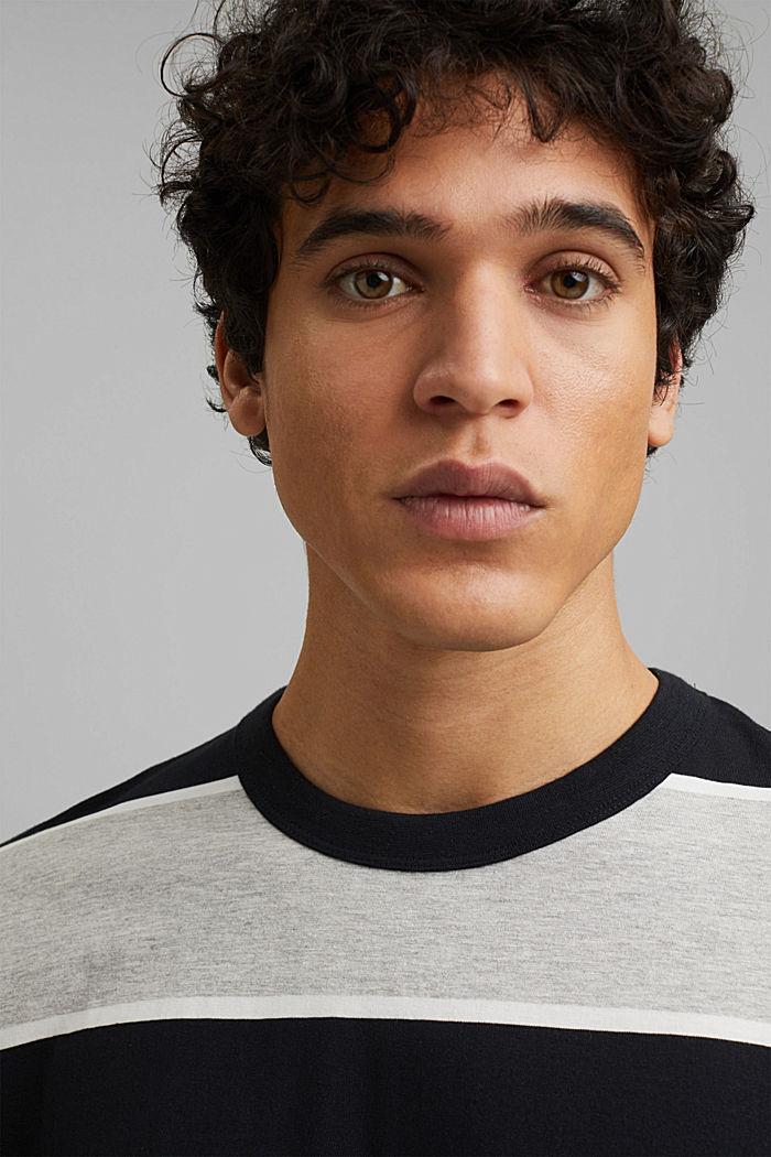 T-shirt rayé, coton biologique, ANTHRACITE, detail image number 5