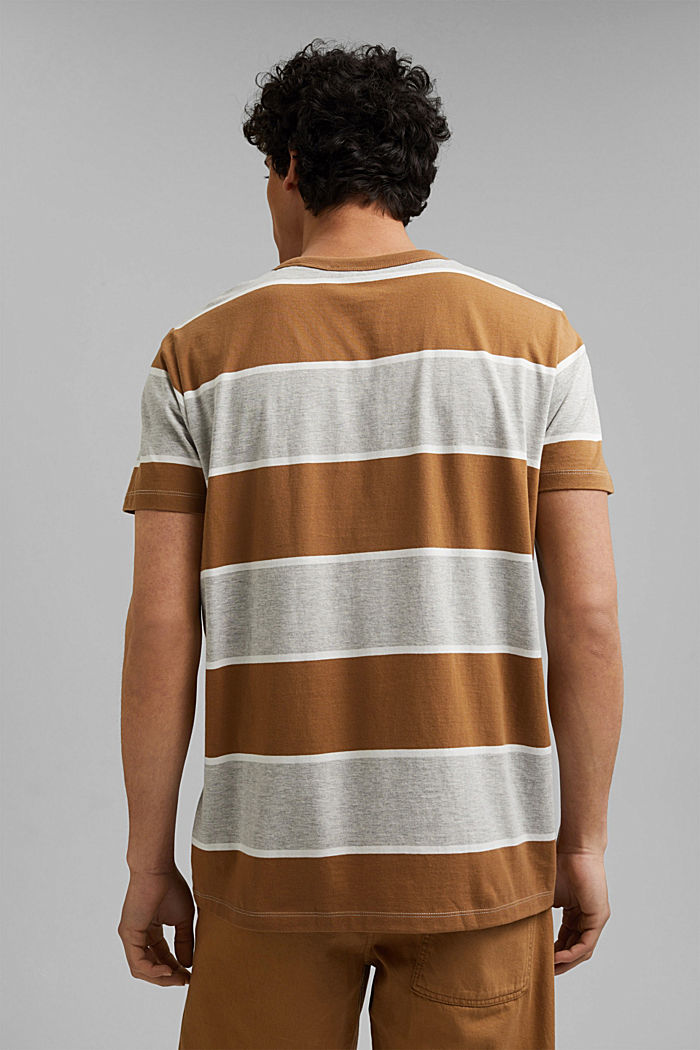 Striped T-shirt, organic cotton, CAMEL, detail image number 3