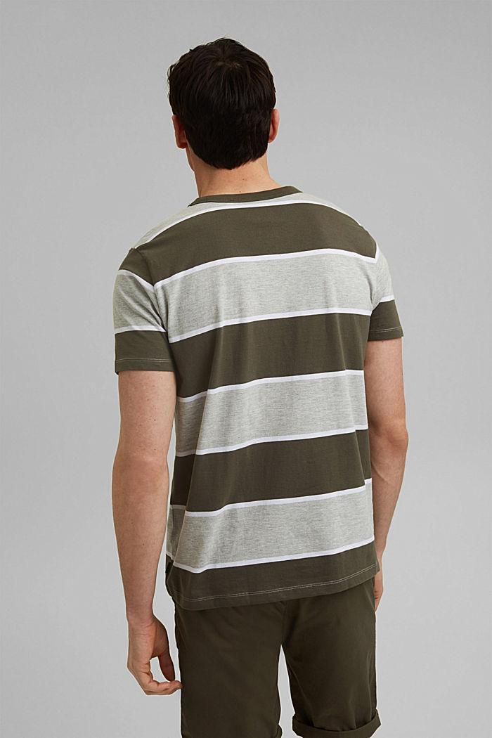 Stribet T-shirt, økologisk bomuld, DARK KHAKI, detail image number 3