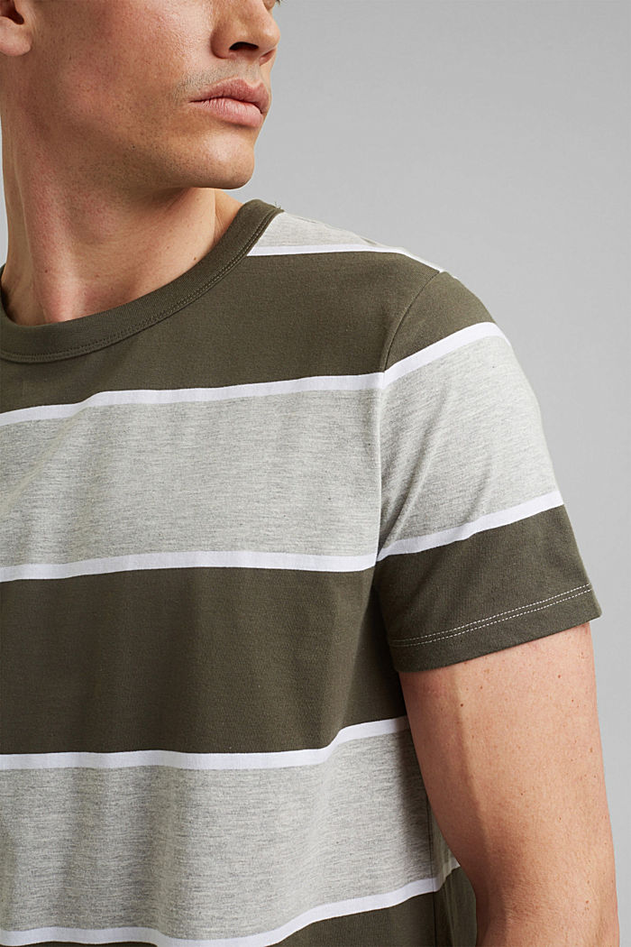 Gestreiftes T-Shirt, Organic Cotton, DARK KHAKI, detail image number 1