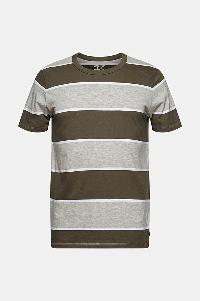 Gestreiftes T-Shirt, Organic Cotton, DARK KHAKI, overview