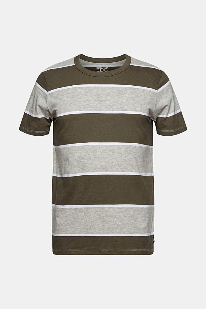 Gestreiftes T-Shirt, Organic Cotton, DARK KHAKI, detail image number 7