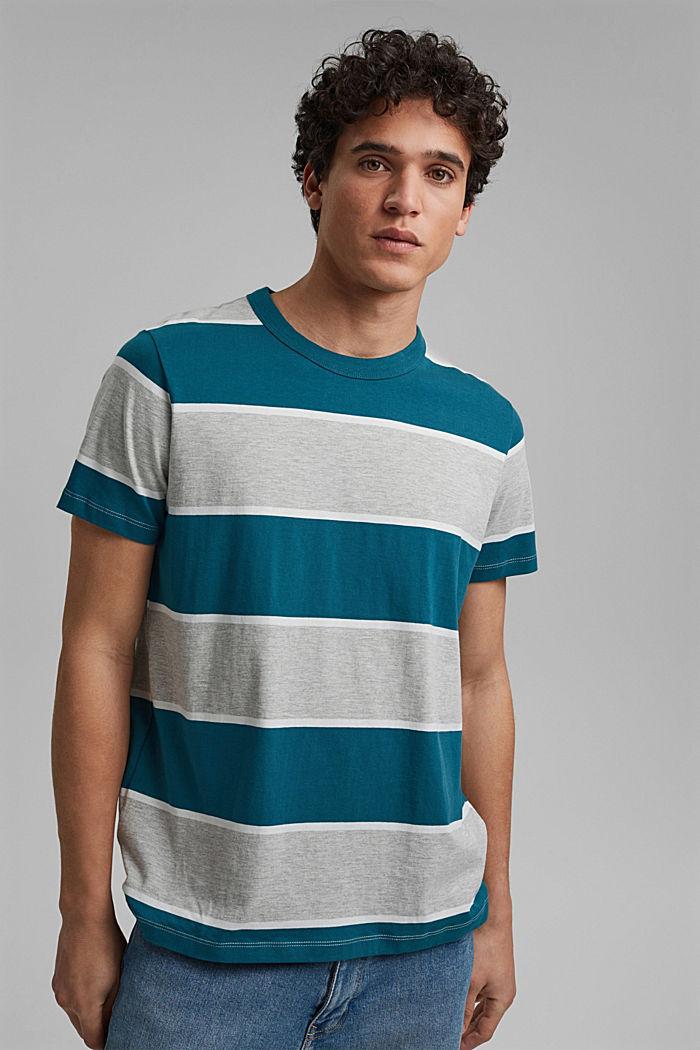 Striped T-shirt, organic cotton, PETROL BLUE, detail image number 0