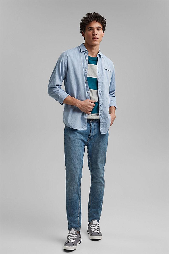 Striped T-shirt, organic cotton, PETROL BLUE, detail image number 2