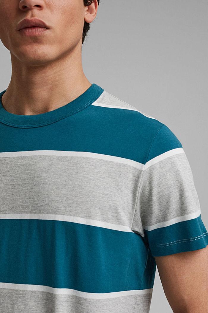 Striped T-shirt, organic cotton, PETROL BLUE, detail image number 1