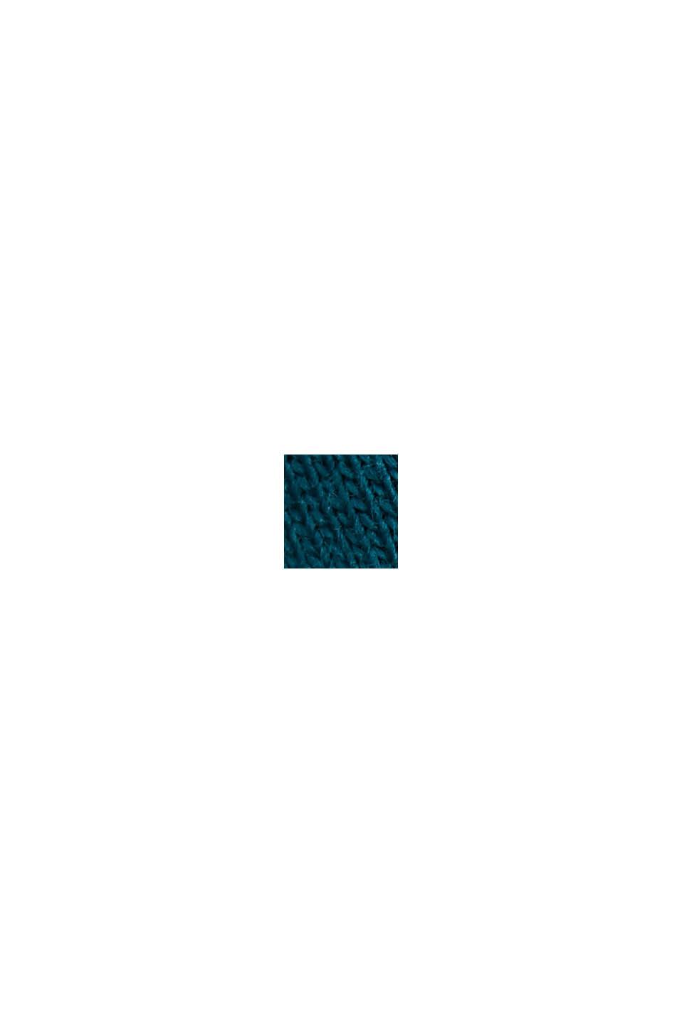 Stribet T-shirt, økologisk bomuld, PETROL BLUE, swatch