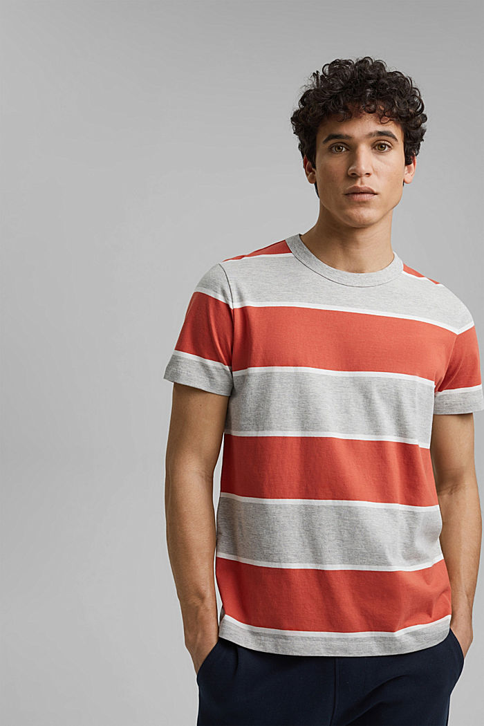 Gestreiftes T-Shirt, Organic Cotton, CORAL, overview