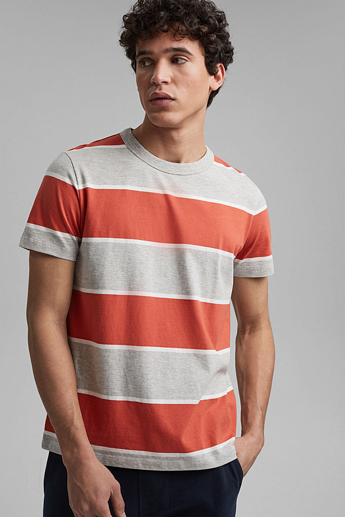 Striped T-shirt, organic cotton, CORAL, detail image number 4