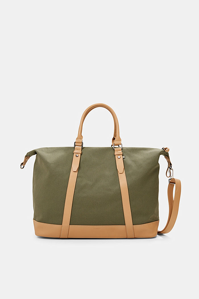 Susie T.: borsa weekender in canvas, OLIVE, overview
