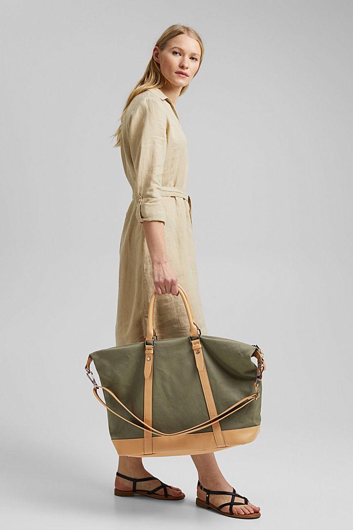 Susie T.: le sac de voyage en toile, végane, OLIVE, detail image number 5