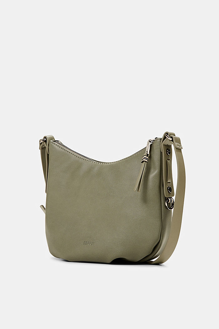 Vegan: small faux leather shoulder bag, OLIVE, detail image number 2