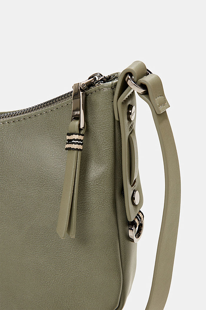 Vegan: small faux leather shoulder bag, OLIVE, detail image number 3