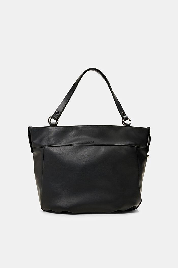 Vegan: Faux leather shopper, BLACK, detail image number 0