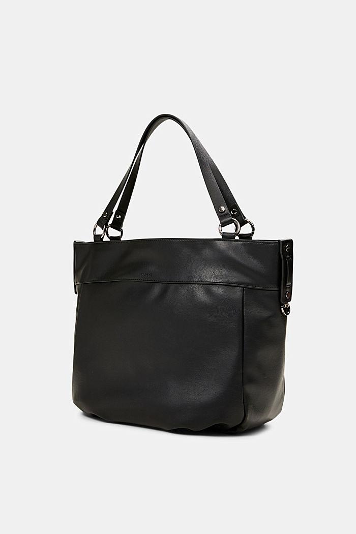 Vegan: Faux leather shopper, BLACK, detail image number 2