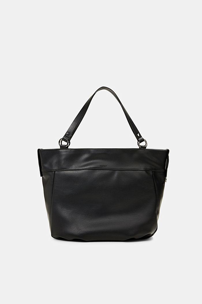 Vegan: Faux leather shopper, BLACK, detail image number 5