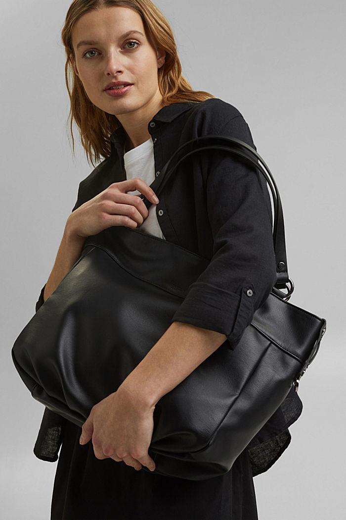 Vegan: Faux leather shopper, BLACK, detail image number 6