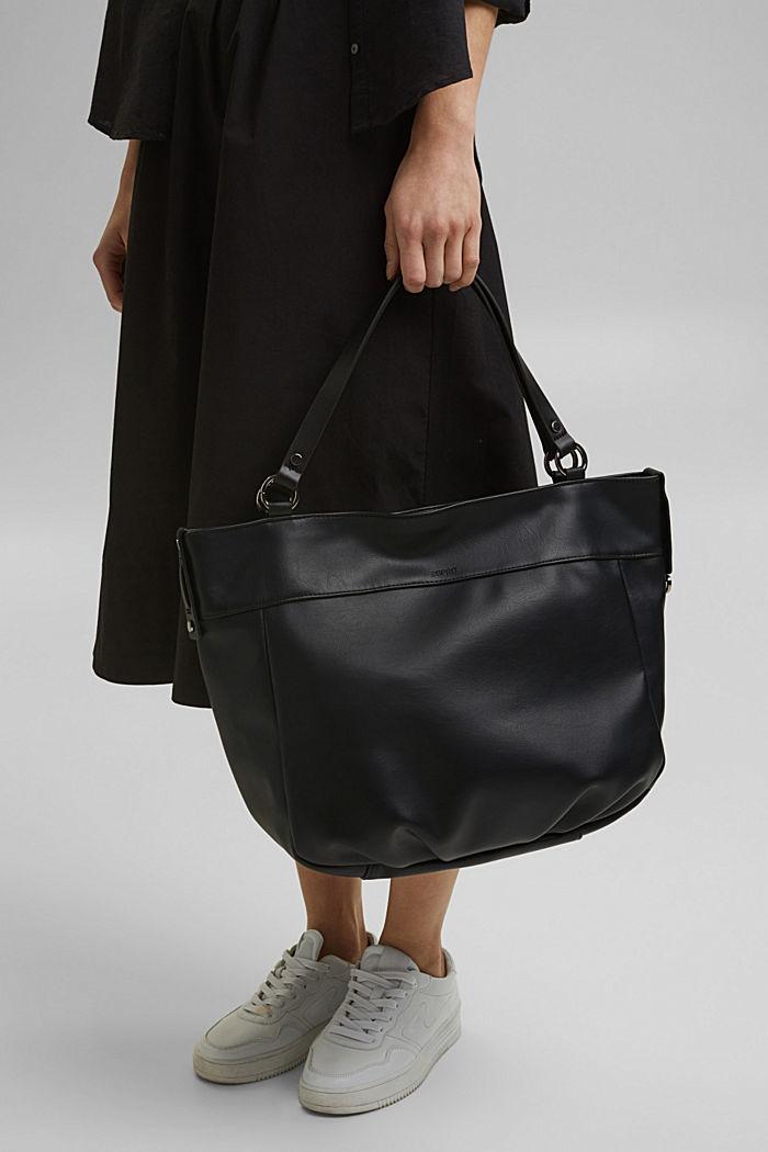 Vegan: Faux leather shopper, BLACK, detail image number 1