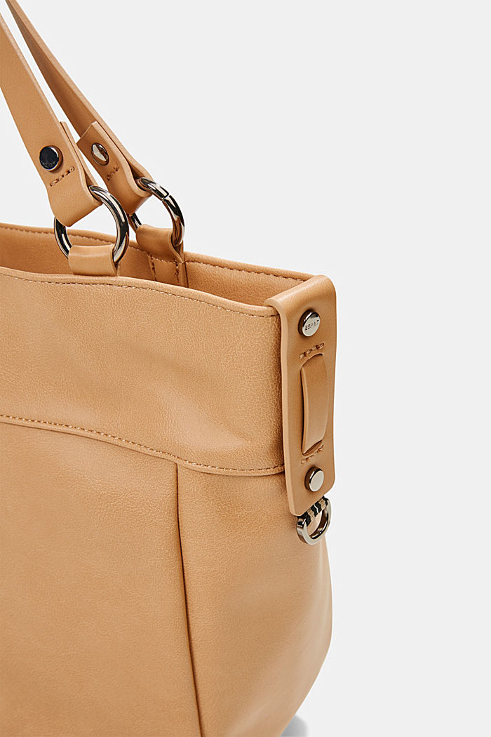 Vegan: Faux leather shopper, CAMEL, detail image number 2
