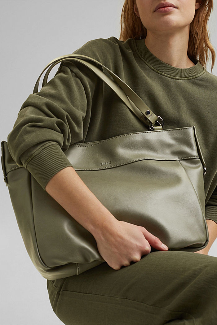 Vegan: Faux leather shopper, OLIVE, overview