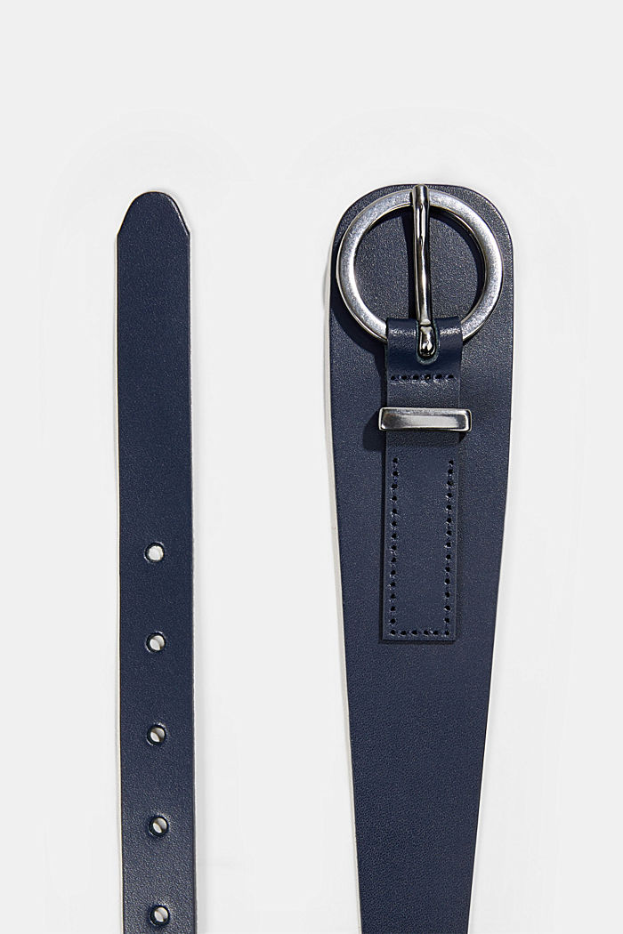 Genuine leather waist belt, NAVY, detail image number 1