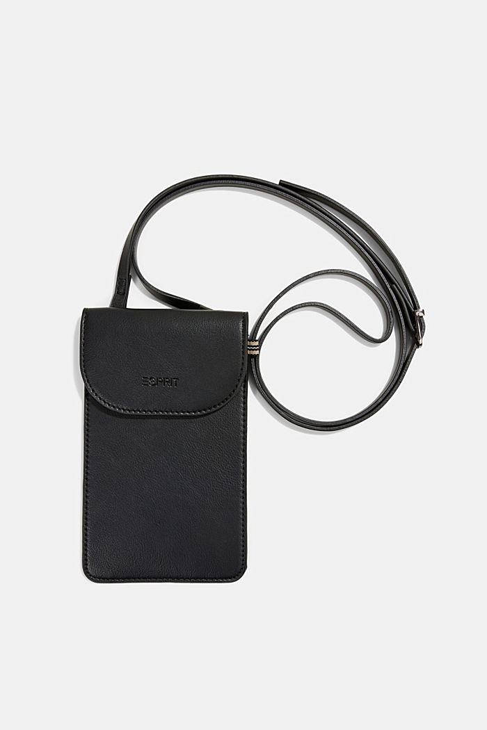 Vegan: Smartphone-Tasche in Lederoptik, BLACK, overview