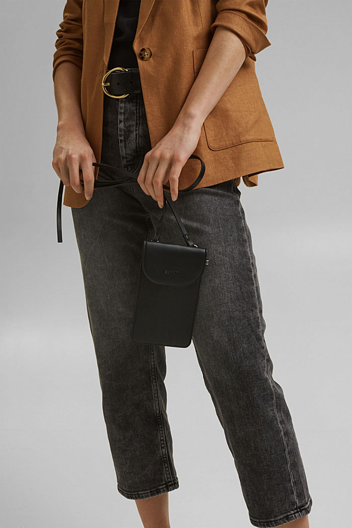 Vegan: Smartphone-Tasche in Lederoptik, BLACK, detail image number 5