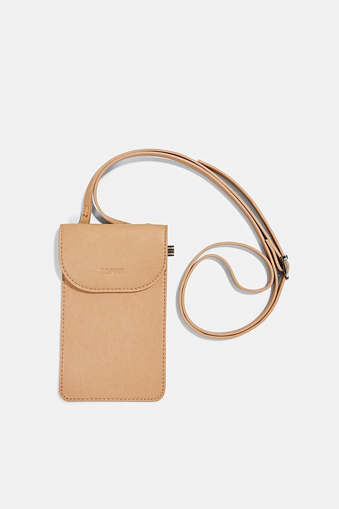 Vegan: faux leather phone bag, CAMEL, detail image number 0