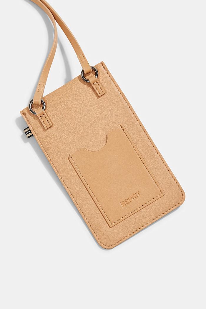 Vegan: faux leather phone bag, CAMEL, detail image number 2