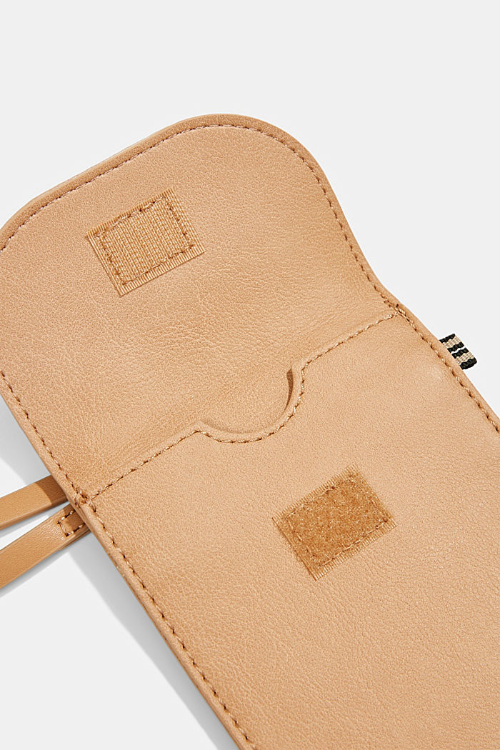 Vegan: faux leather phone bag, CAMEL, detail image number 3